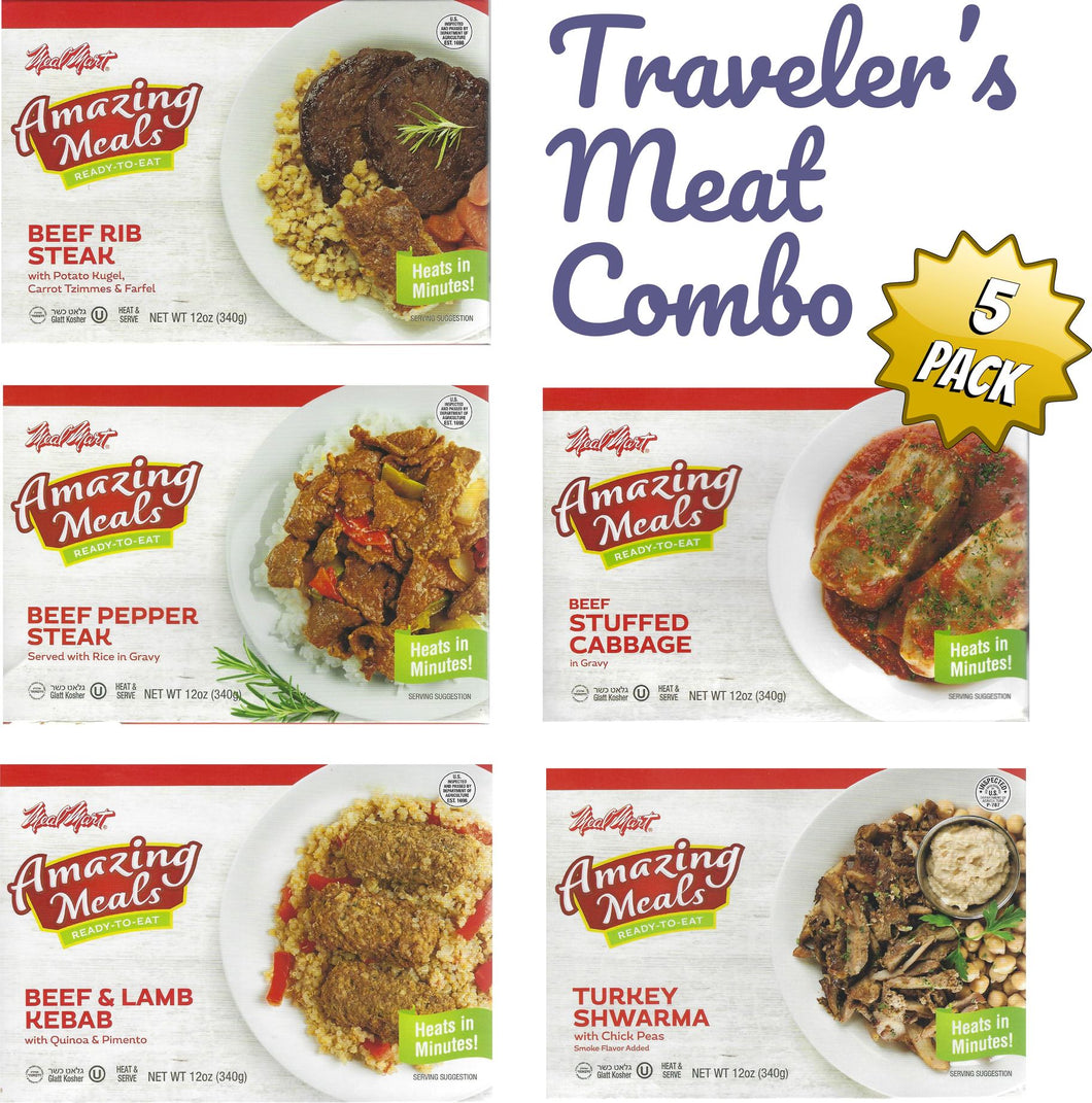 Kosher Amazing Meals 5 pack Travelers Combos (Meat Combo)