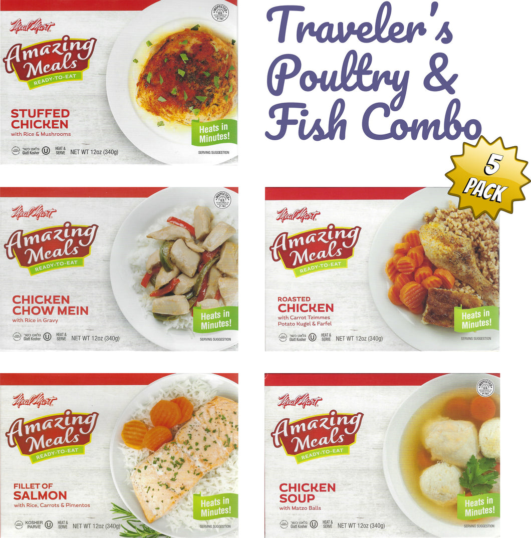 Kosher Amazing Meals 5 pack Travelers Combos (Poultry and Fish Combo)