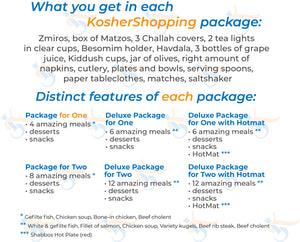 Couples Deluxe Kosher Shabbos Meals Package – Ready to Eat – Travel or at Home – Kosher Food, For TWO – Everything Shabbat in a Box [Salmon, Meat, extra Kugel]