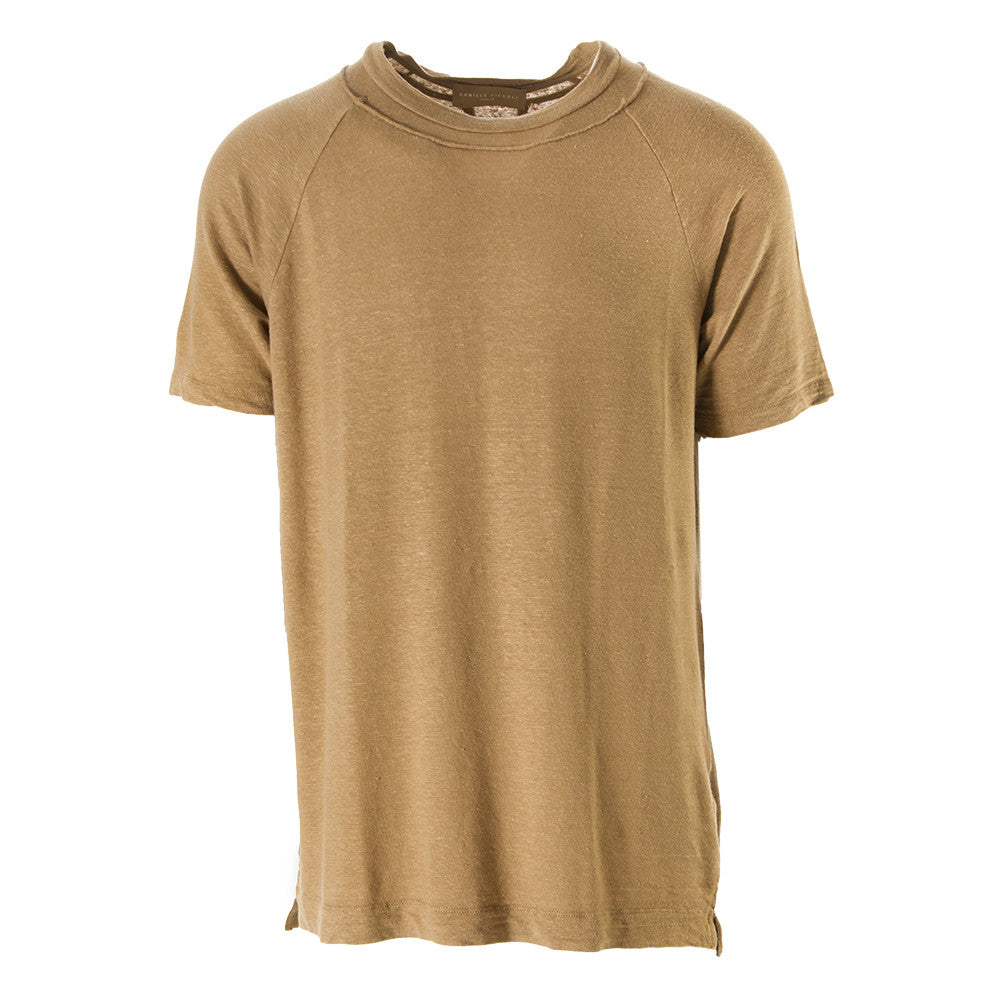 DANIELE FIESOLI mens camel brown linen T-shirt