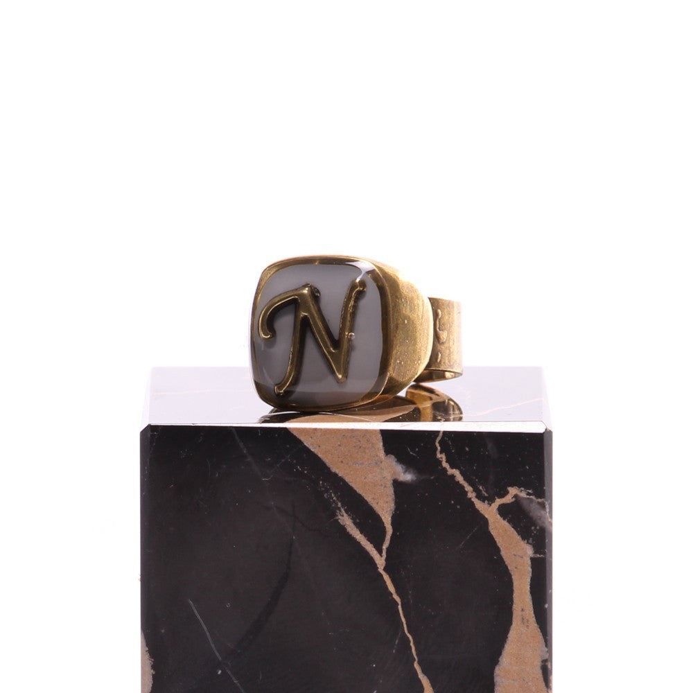 "UNIQUE womens letter ""N"" grey brass Ring"