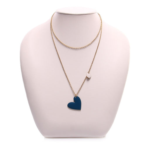UNIQUE womens blue marine heart Necklace