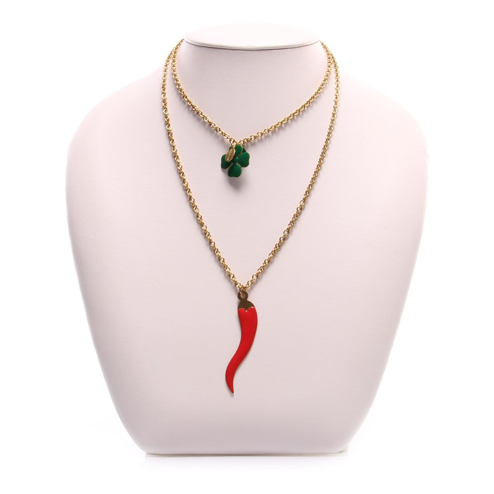 UNIQUE womens horn four-leaf clover Necklace
