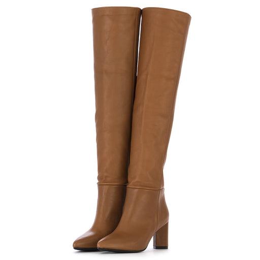 L'ARIANNA womens brown nappa leather Knee boots