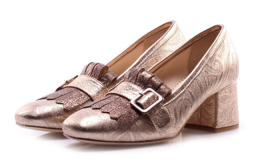 TODAI Womens bronze printed leather Pumps