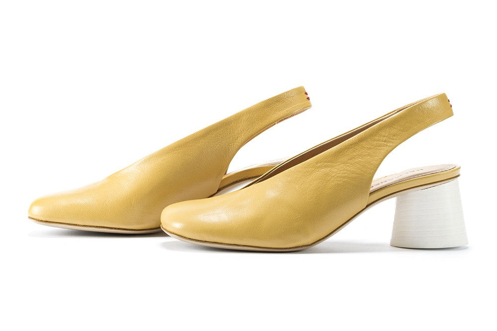 HALMANERA womens pastel yellow Slingback shoes