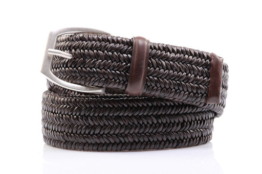 Orciani mens dark brown woven leather belt with silver buckle