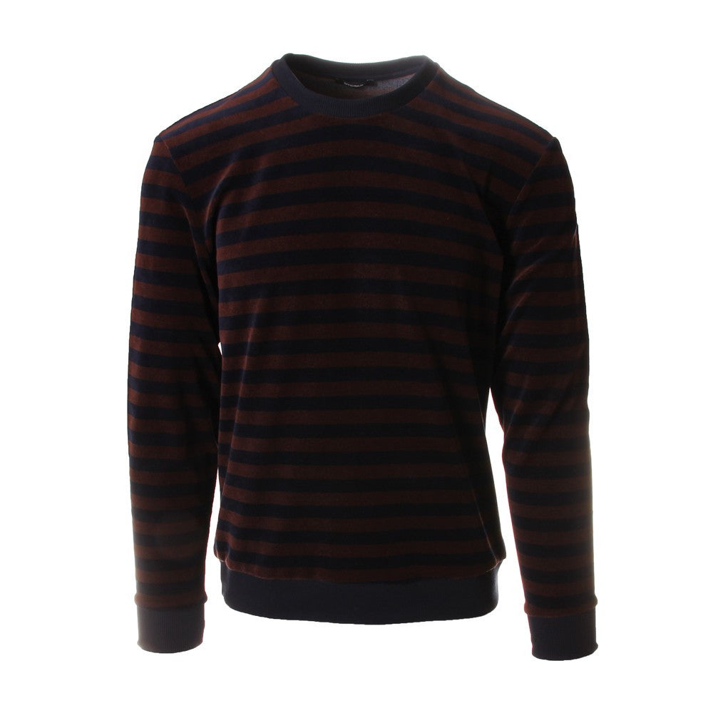 Officina36 mens blue and brown stripes cotton chenille sweater