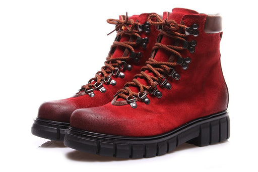 LES DROMONTS womens red suede Lace-up ankle boots