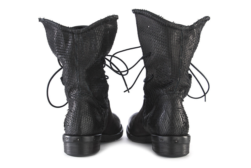 REP-KO womens black nubuck leather Lace-up boots