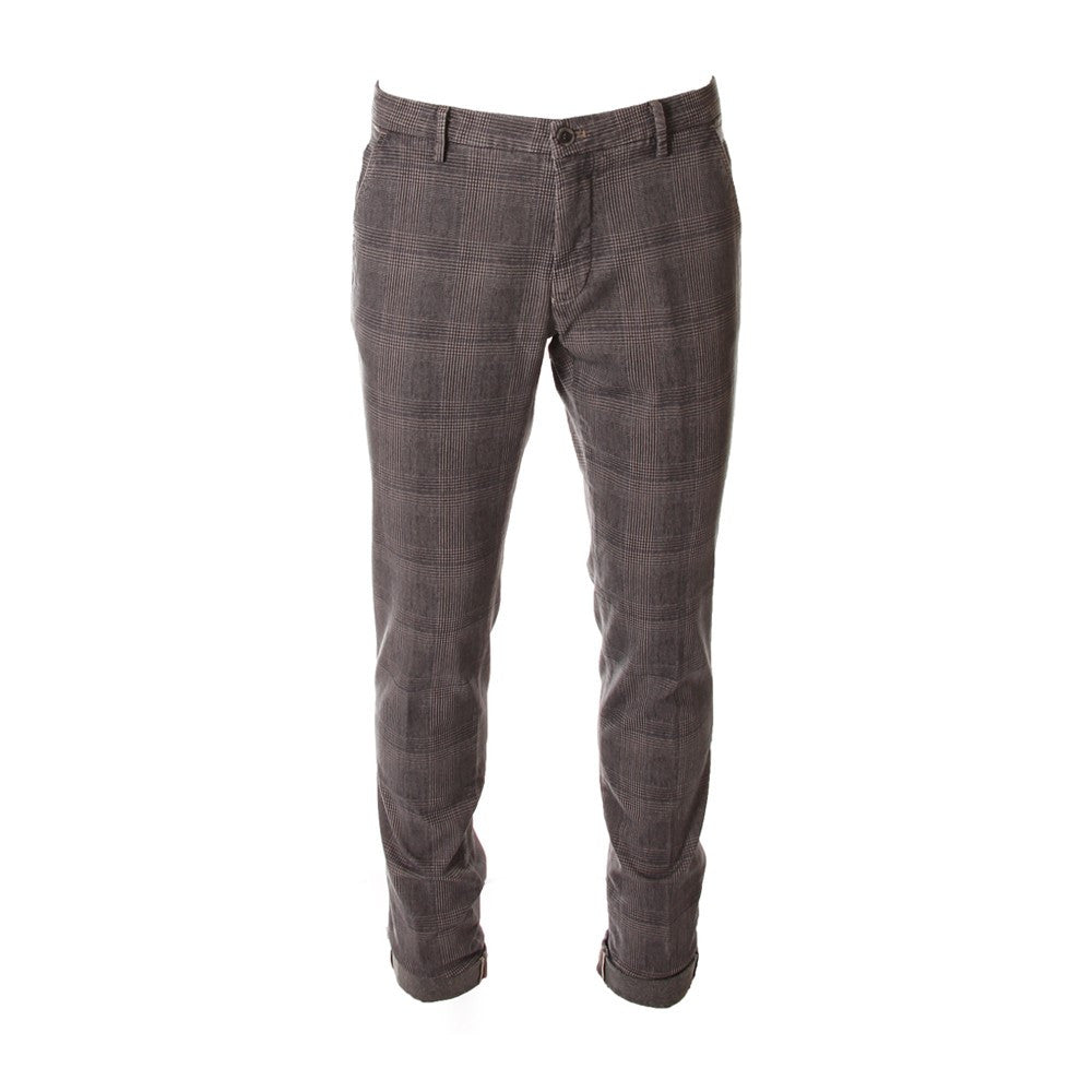 MASON'S mens PRINCE OF WALES grey Milano chino pants