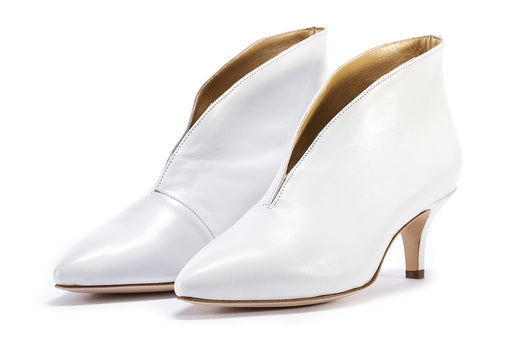 L'ARIANNA womens white leather Ankle boots