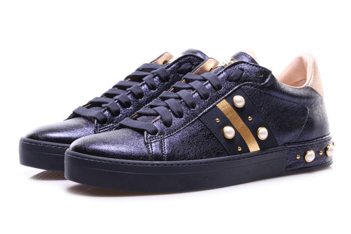 Stokton womens blu/gold leather sneakers with cabochon and pearls