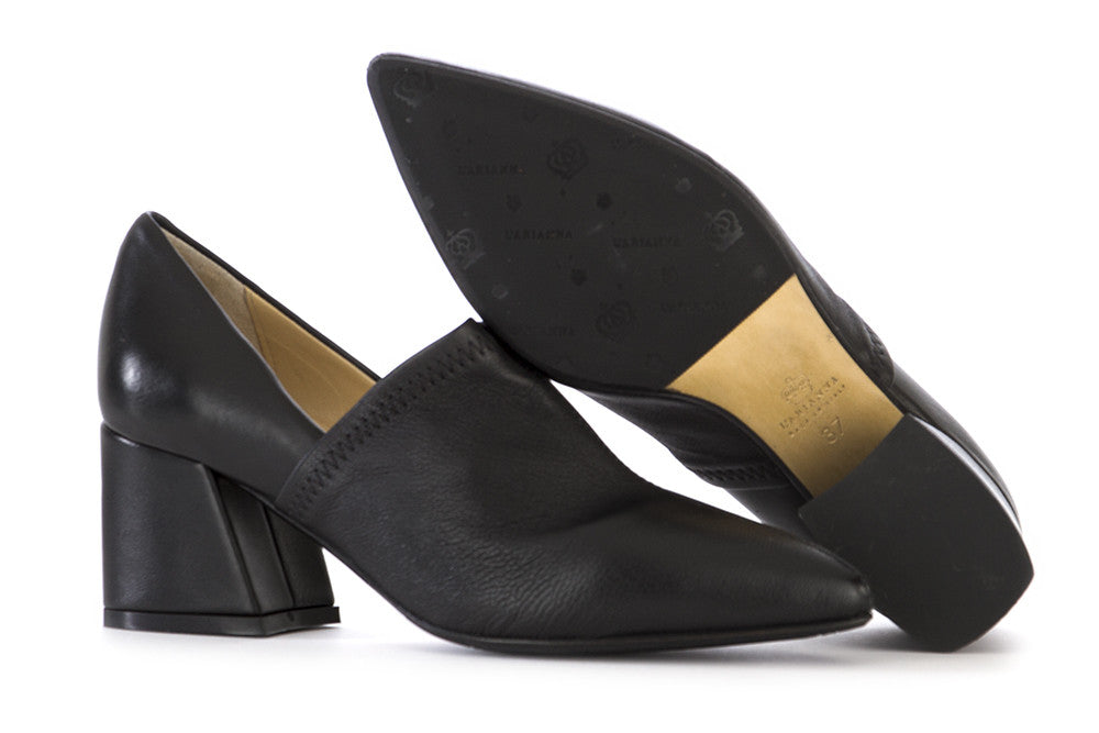 L'ARIANNA womens black stretch nappa leather Pumps