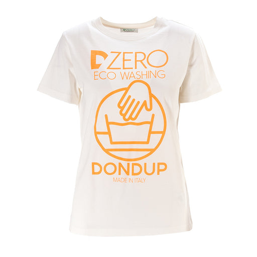 DONDUP womens white orange cotton T-shirt
