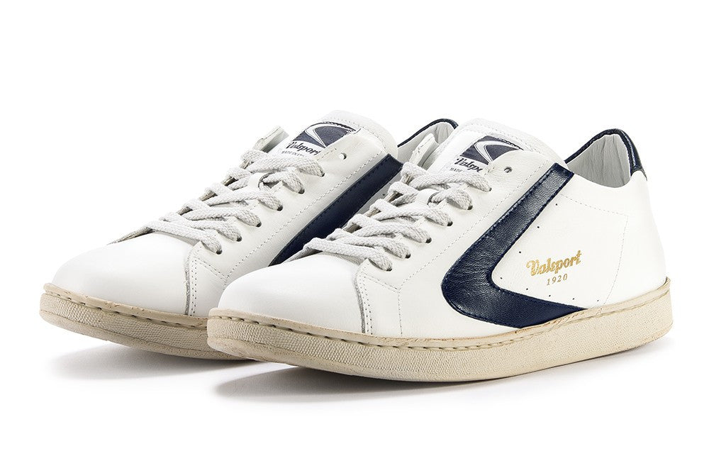 VALSPORT Mens Tournament sneakers white dark blue leather