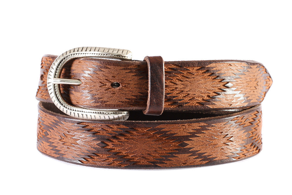 Orciani mens brown laser cut leather belt with silver engraved buckle