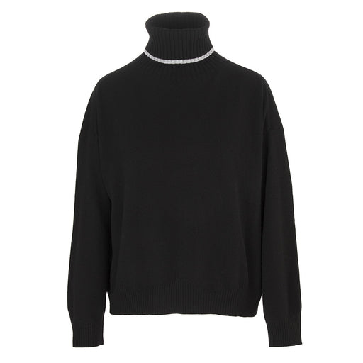 SEMICOUTURE | TURTLENECK SWEATER BLACK WOOL BLEND