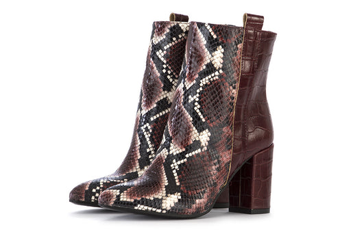 JUICE womens bordeaux python print Ankle boots