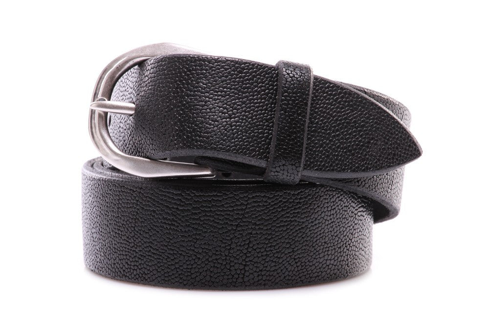 Orciani mens black leather belt handmade with nickel buckle