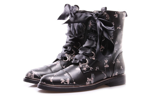 D+ womens black leather Lace-up ankle boots