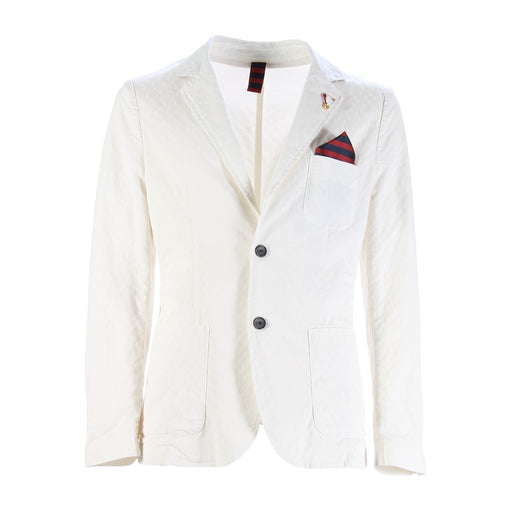 INDIVIDUAL mens white stretch cotton Blazer