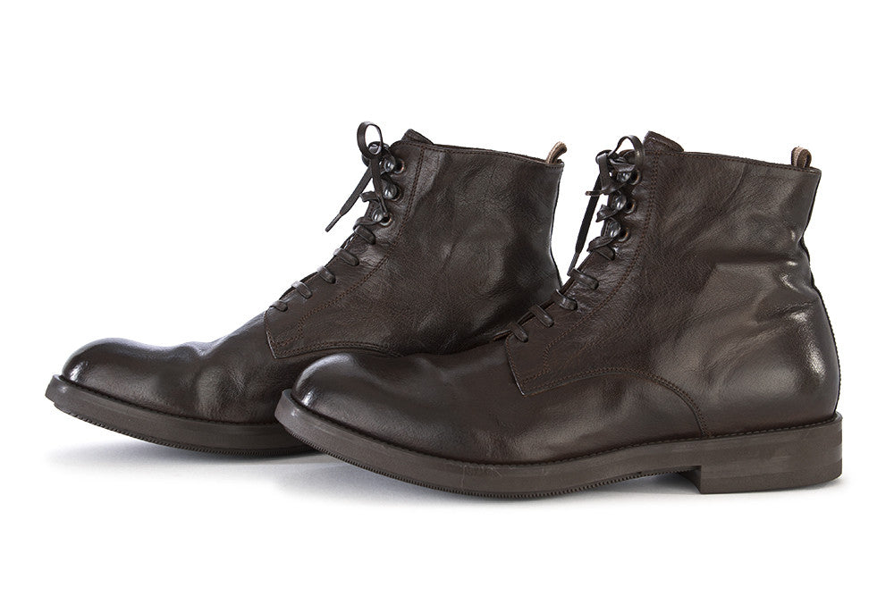 OFFICINE CREATIVE mens dark brown drum washed leather Boots