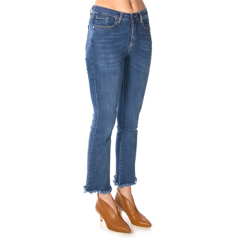 MERCI womens light blue cotton Flared jeans