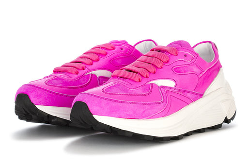 MANOVIA 52 womens fuchsia fluo leather Sneakers
