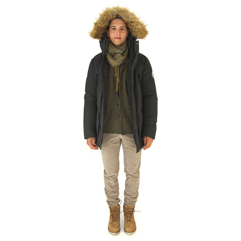 SAVE THE DUCK mens dark green Jacket faux fur hood