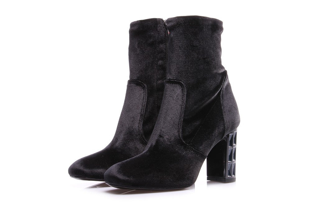 TODAI Womens black leather textile Boots