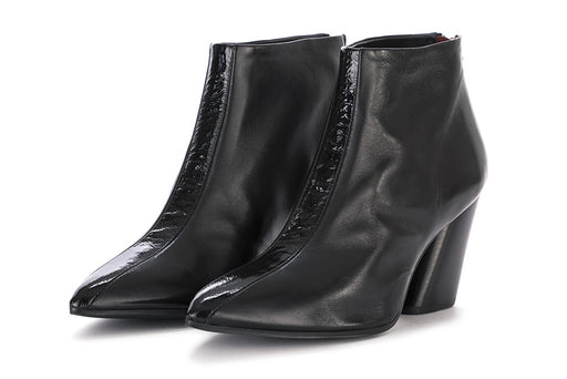 HALMANERA womens black leather Ankle boots