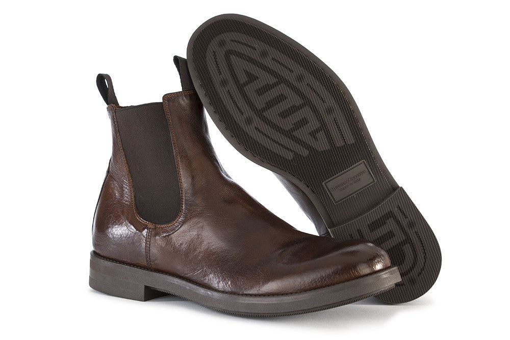 OFFICINE CREATIVE mens brown leather Chelsea boots