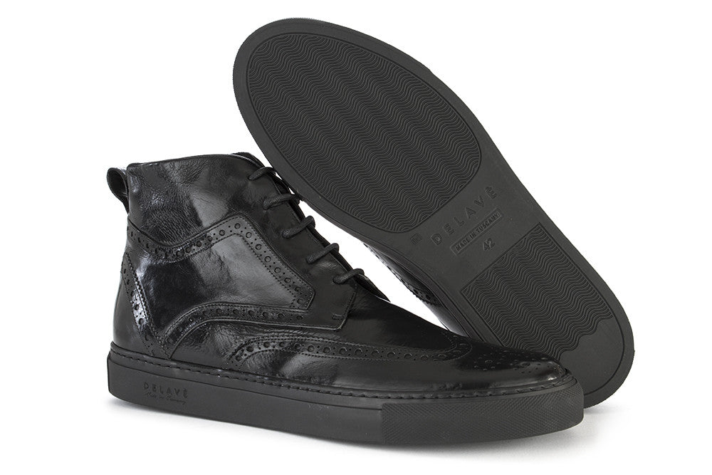 DELAVÈ mens black leather Brogues sneakers