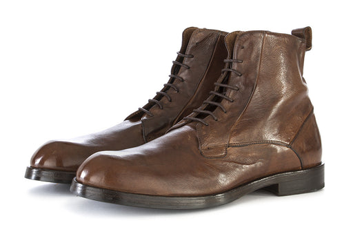 DELAVÈ mens cognac brown Lace-up ankle boots