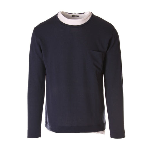 Officina36 mens blue tricot sweater with wide white crew neck