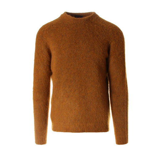 WOOL&CO mens sweater yellow wool round neck