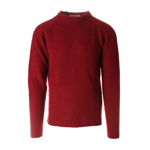 WOOL&CO mens sweater red wool round neck