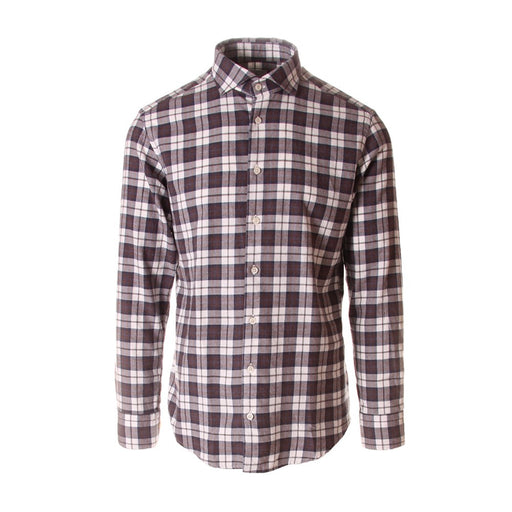 BASTONCINO mens brown white blue Shirt chequered