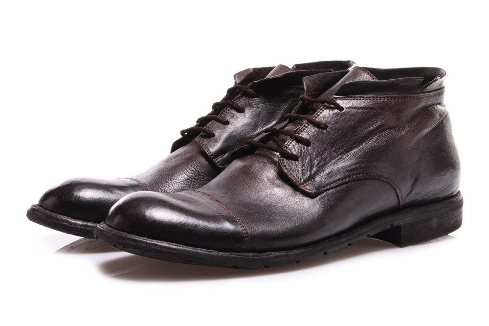 MANOVIA 52 mens ebony leather Ankle boots lace-up