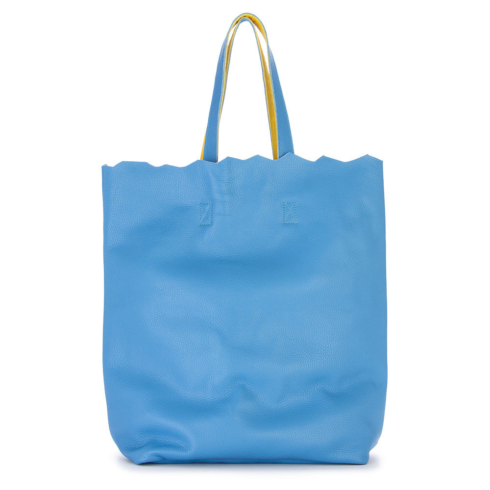 JDK womens light blue yellow leather Shopper bag