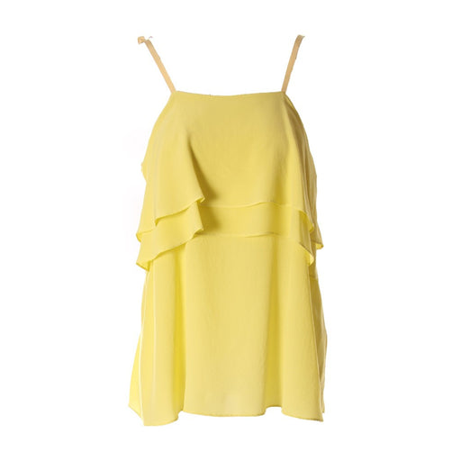 Semicouture womens lemon yellow silk top with a large fit