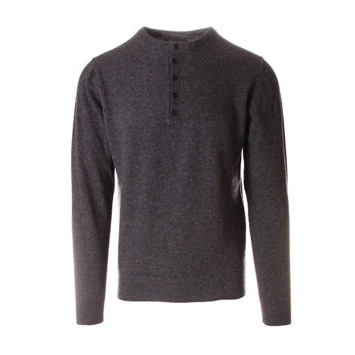 OBVIOUS BASIC mens grey wool Serafino sweater