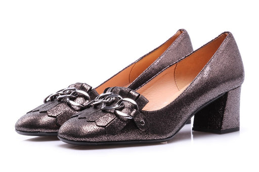 MANOVIA 52 womens metallic anthracite leather Pumps