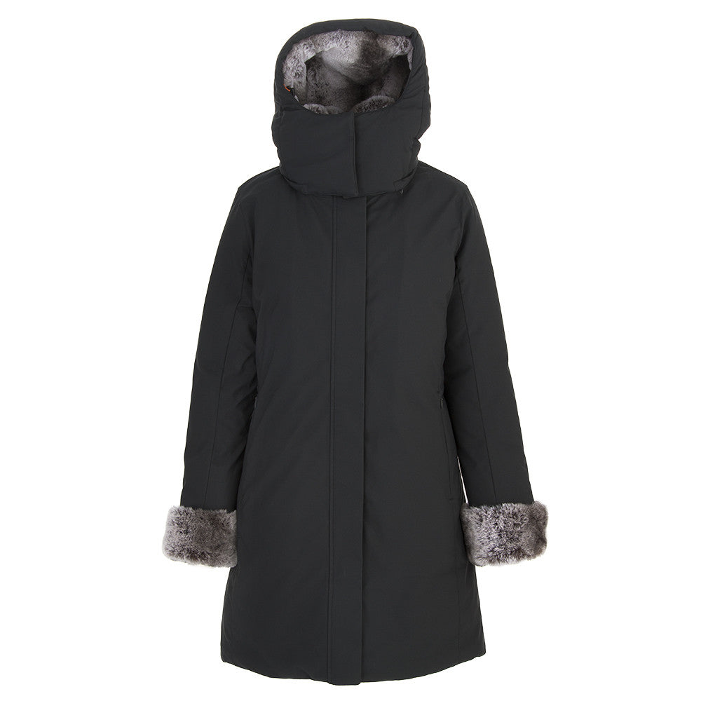 SAVE THE DUCK womens black eco fur puffer jacket