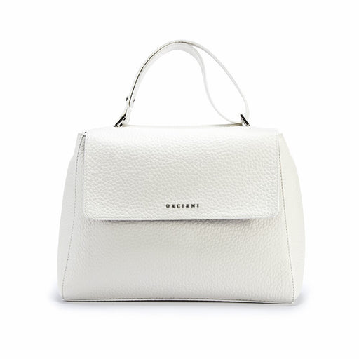 Orciani Sveva womens white hammered leather shoulder bag