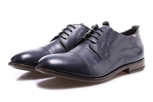 MOMA mens ocean blue leather Derby shoes