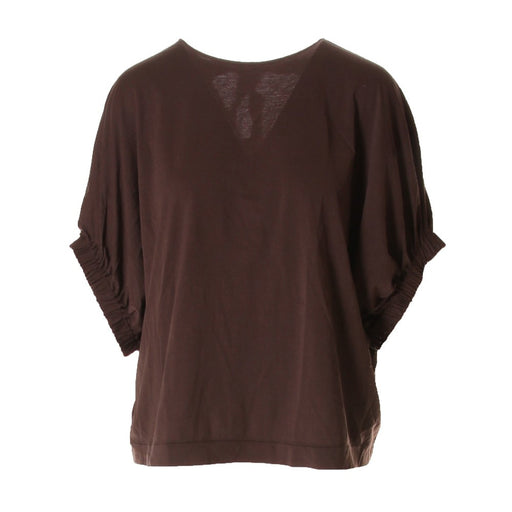 JUCCA womens coffee brown cotton T-shirts