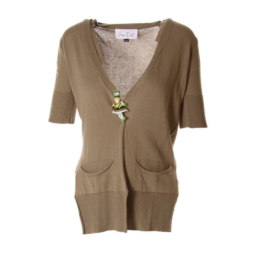 VIRNA DRO' women Cardigan olive green wooden buttons