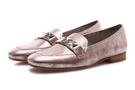 D+ womens antique gold leather Moccasins